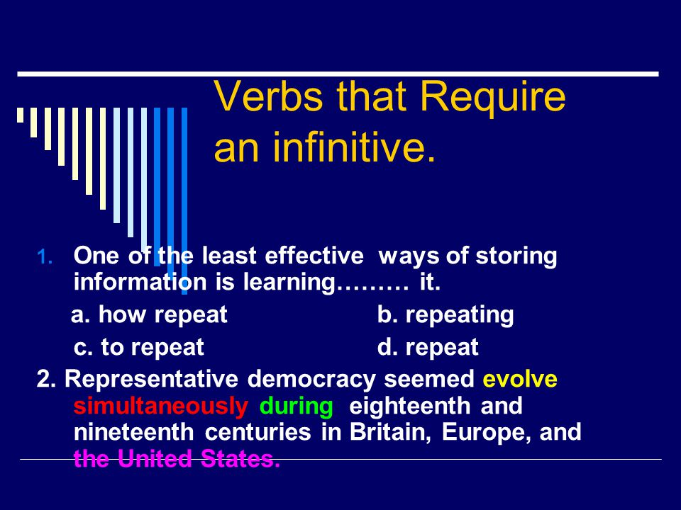 Verbs that Require an infinitive.