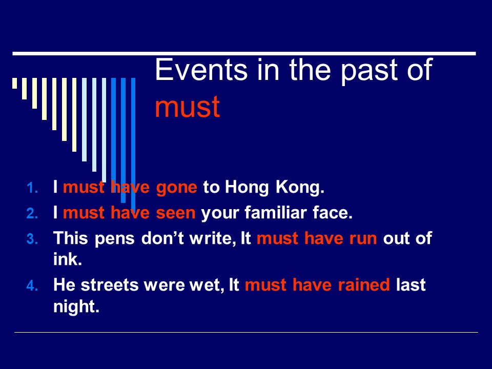 Events in the past of must