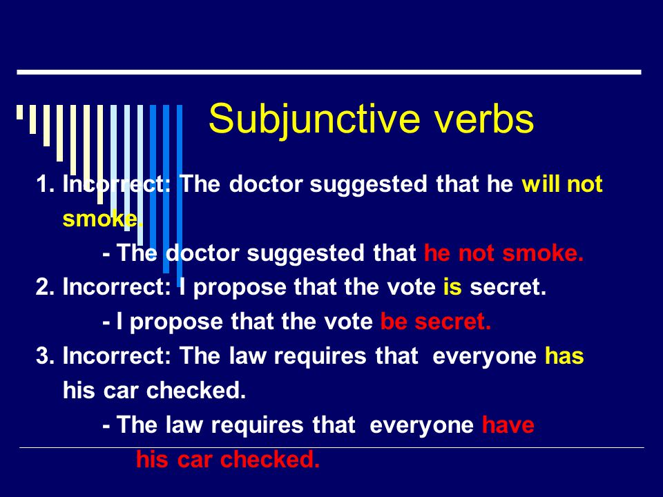 Subjunctive verbs 1. Incorrect: The doctor suggested that he will not