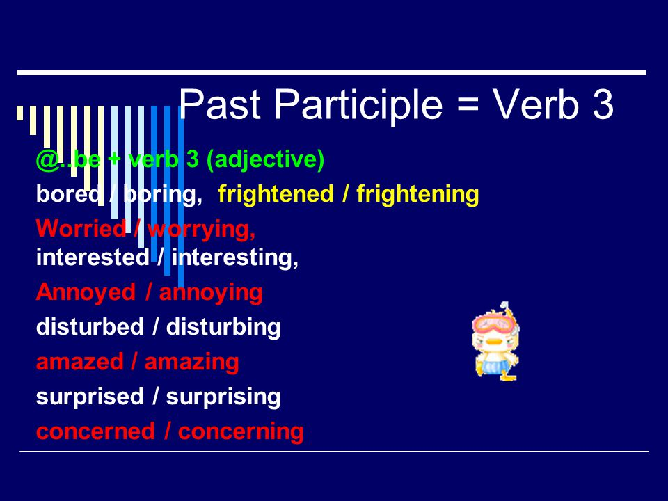 Past Participle = Verb 3 @..be + verb 3 (adjective)