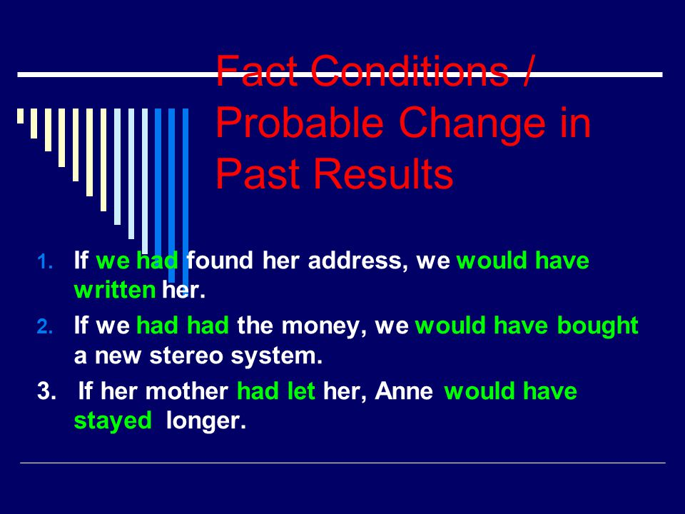 Fact Conditions / Probable Change in Past Results