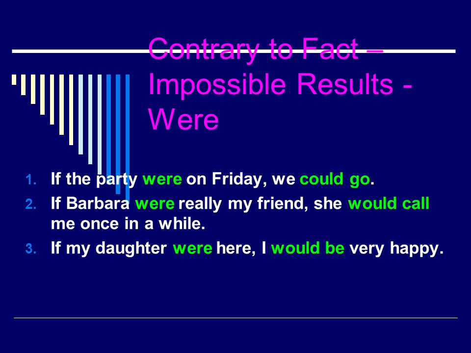 Contrary to Fact – Impossible Results - Were