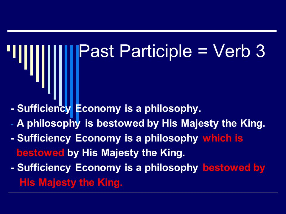 Past Participle = Verb 3 - Sufficiency Economy is a philosophy.