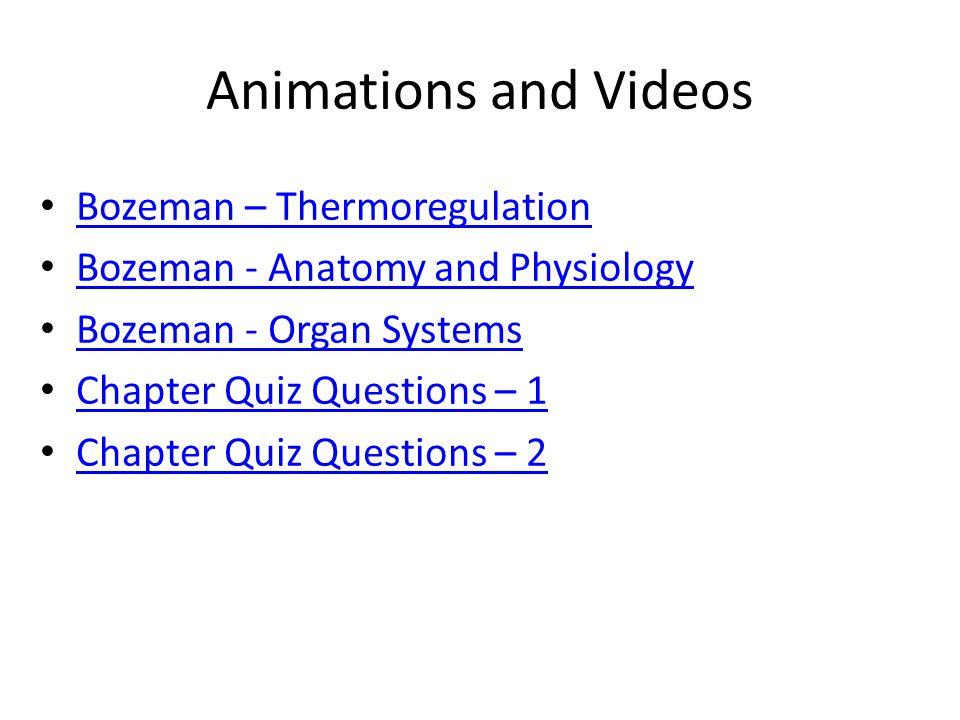 Animations and Videos Bozeman – Thermoregulation