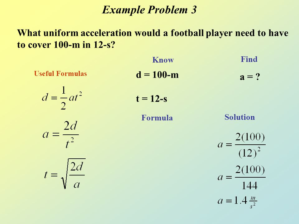 Example Problem 3 What uniform acceleration would a football player need to have to cover 100-m in 12-s