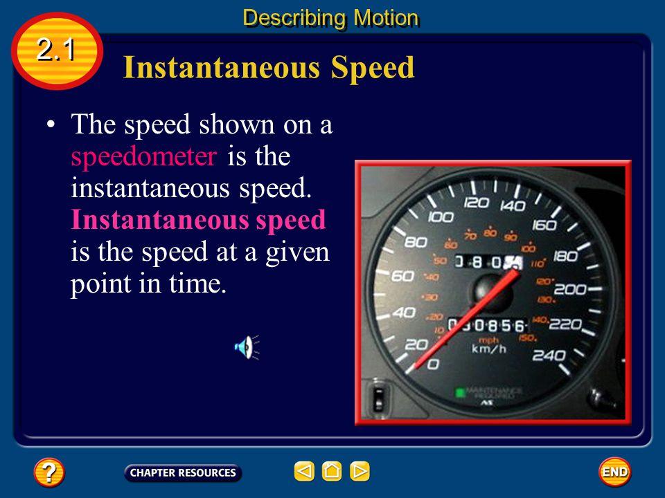 Describing Motion 2.1. Instantaneous Speed.