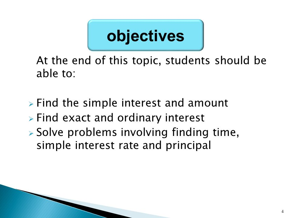 objectives At the end of this topic, students should be able to: