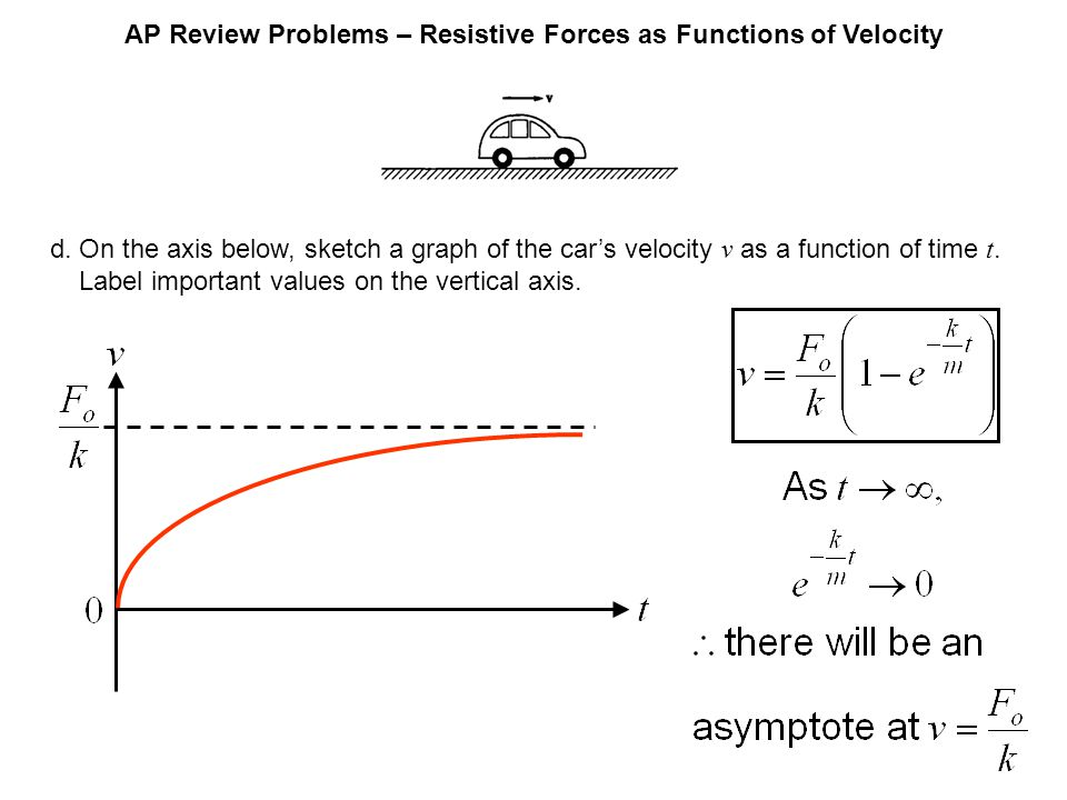 AP Review Problems – Resistive Forces as Functions of Velocity