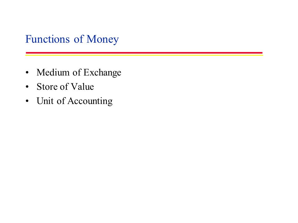 Functions of Money Medium of Exchange Store of Value