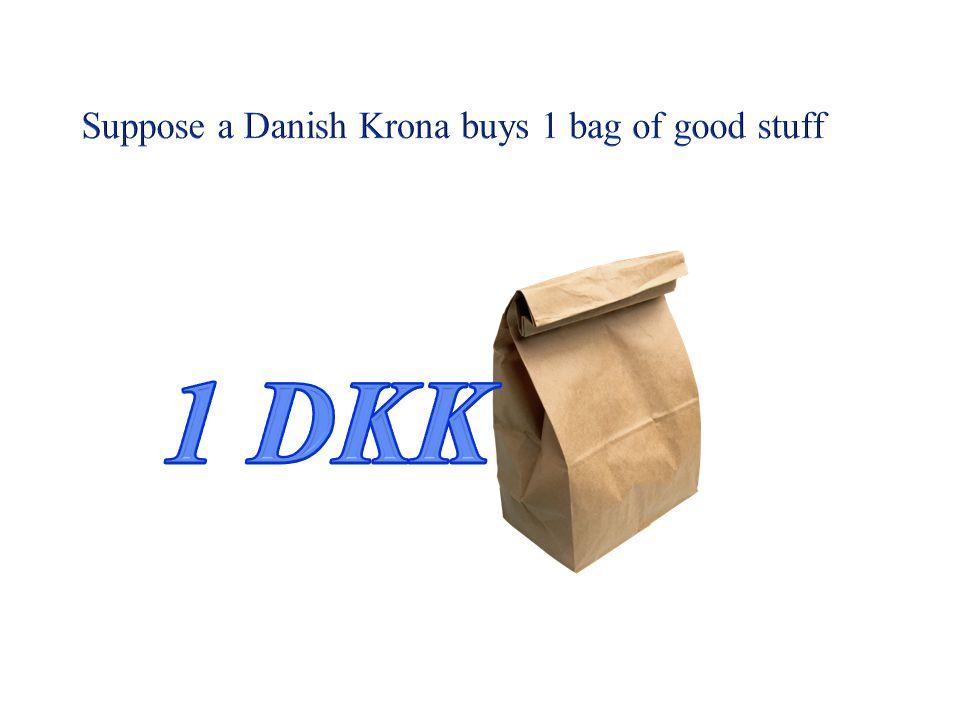 Suppose a Danish Krona buys 1 bag of good stuff