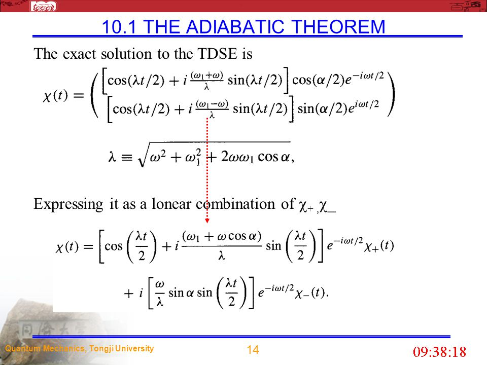 10.1 THE ADIABATIC THEOREM The exact solution to the TDSE is