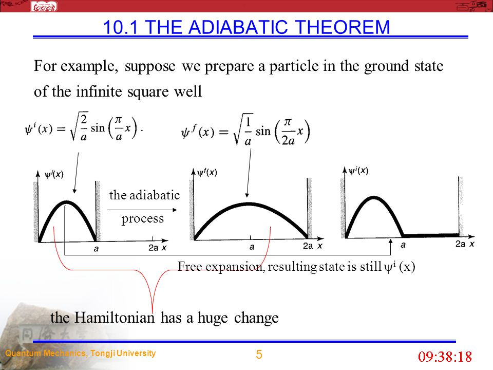 10.1 THE ADIABATIC THEOREM For example, suppose we prepare a particle in the ground state of the infinite square well.