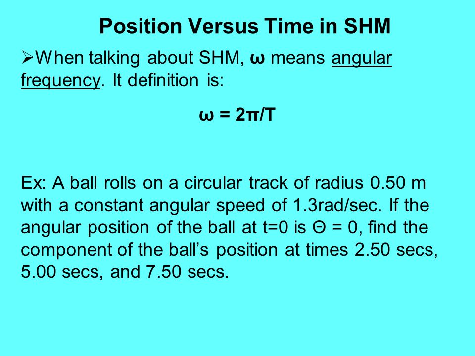 Position Versus Time in SHM