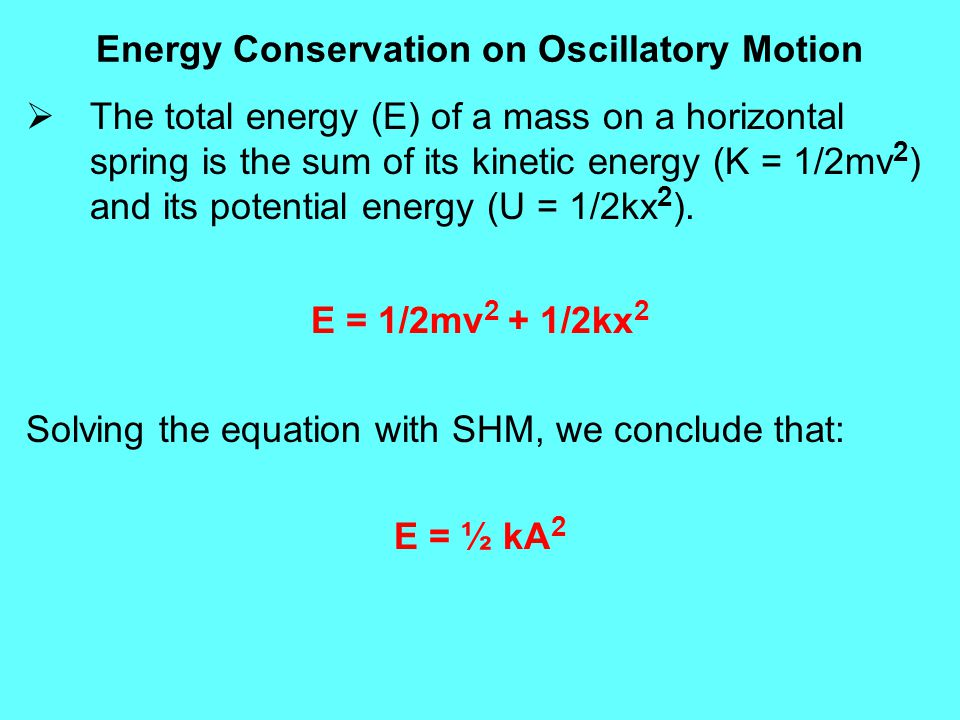Energy Conservation on Oscillatory Motion