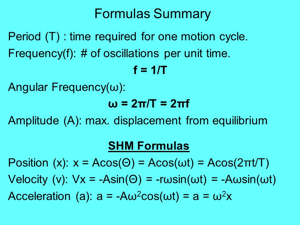Formulas Summary Period (T) : time required for one motion cycle.
