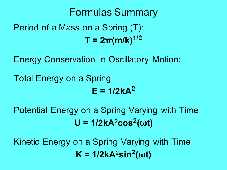 Formulas Summary Period of a Mass on a Spring (T): T = 2π(m/k)1/2