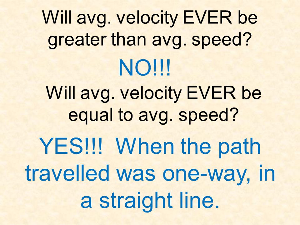 Will avg. velocity EVER be greater than avg. speed