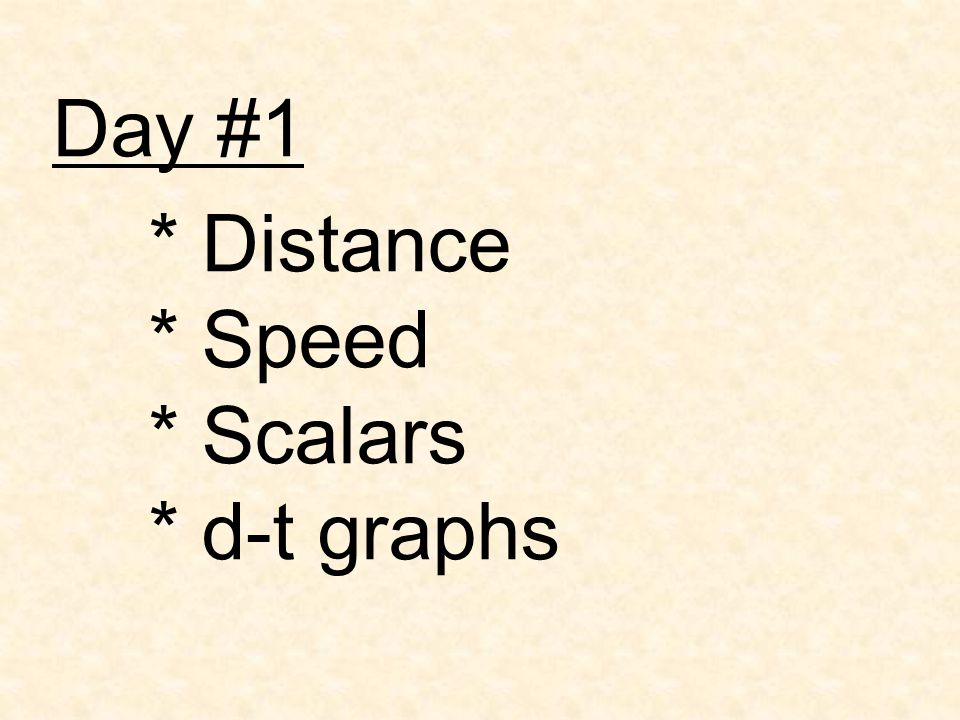 Day #1 * Distance * Speed * Scalars * d-t graphs
