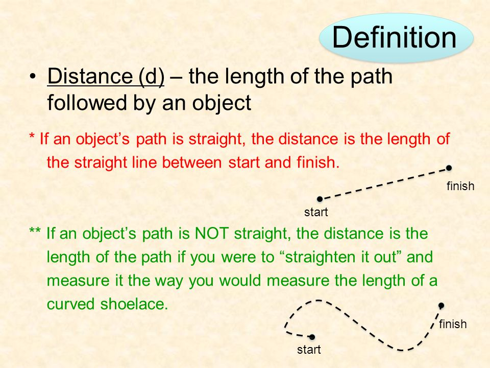 Definition Distance (d) – the length of the path followed by an object