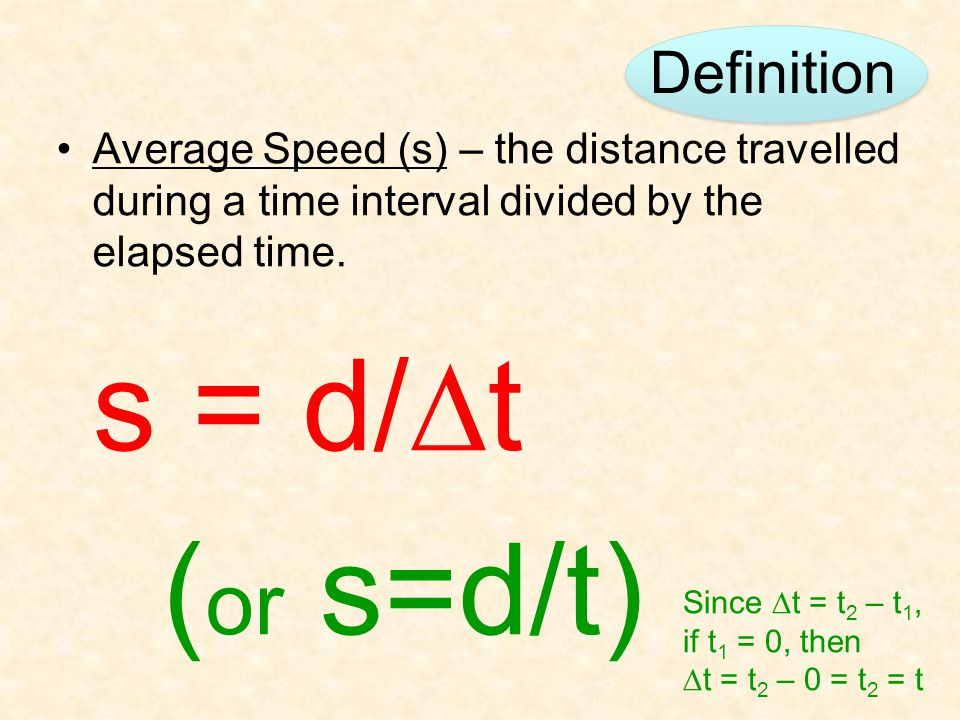 Definition Average Speed (s) – the distance travelled during a time interval divided by the elapsed time.