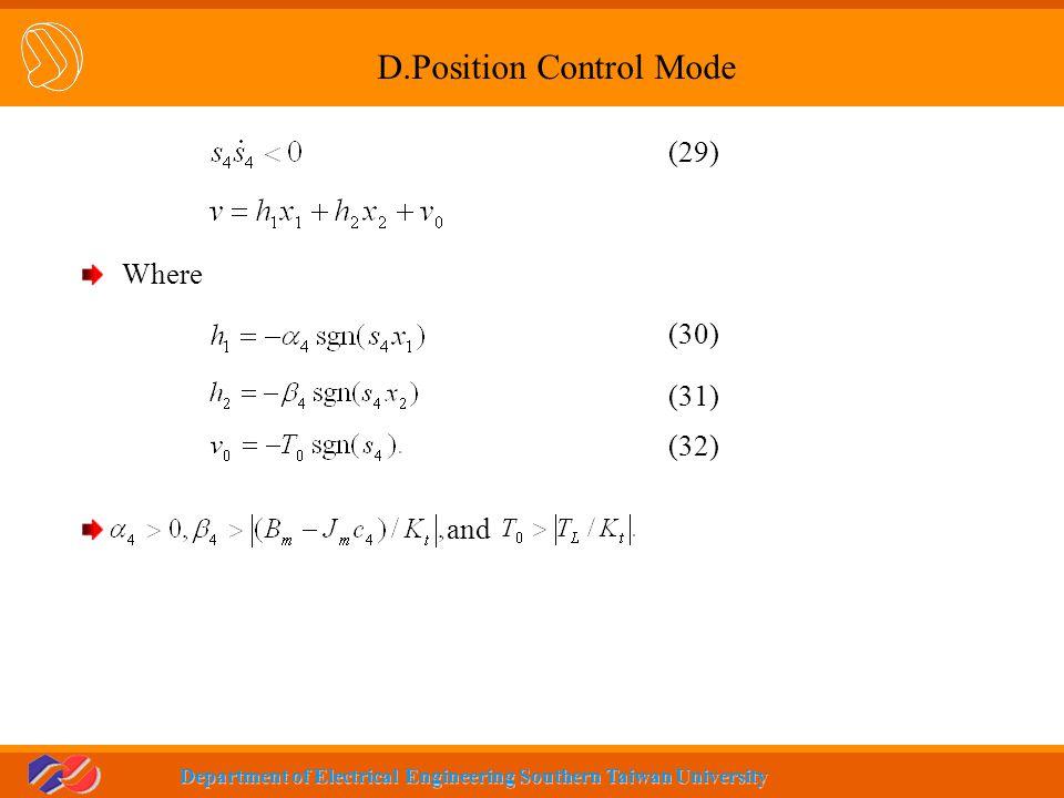 D.Position Control Mode