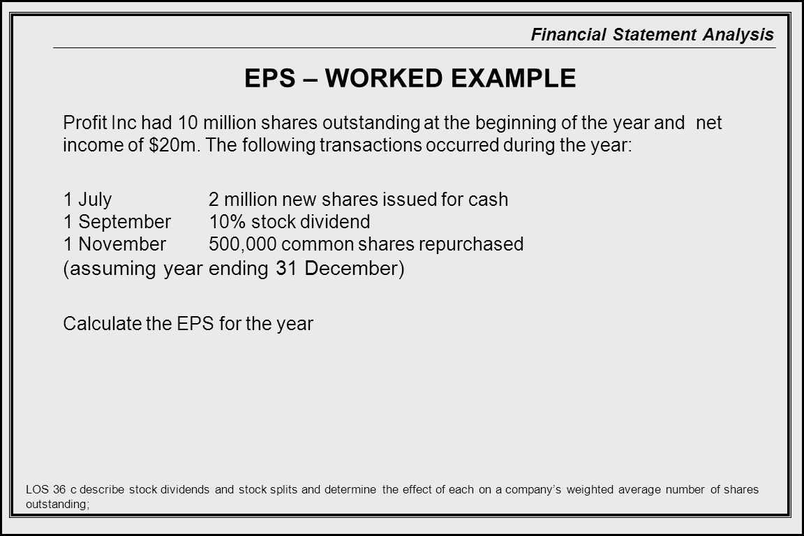 EPS – WORKED EXAMPLE (assuming year ending 31 December)