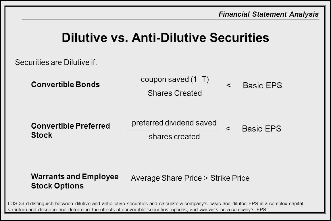 Dilutive vs. Anti-Dilutive Securities