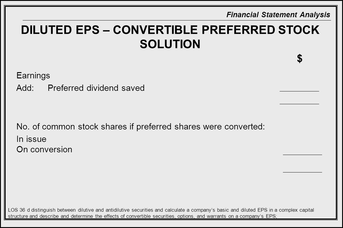 DILUTED EPS – CONVERTIBLE PREFERRED STOCK