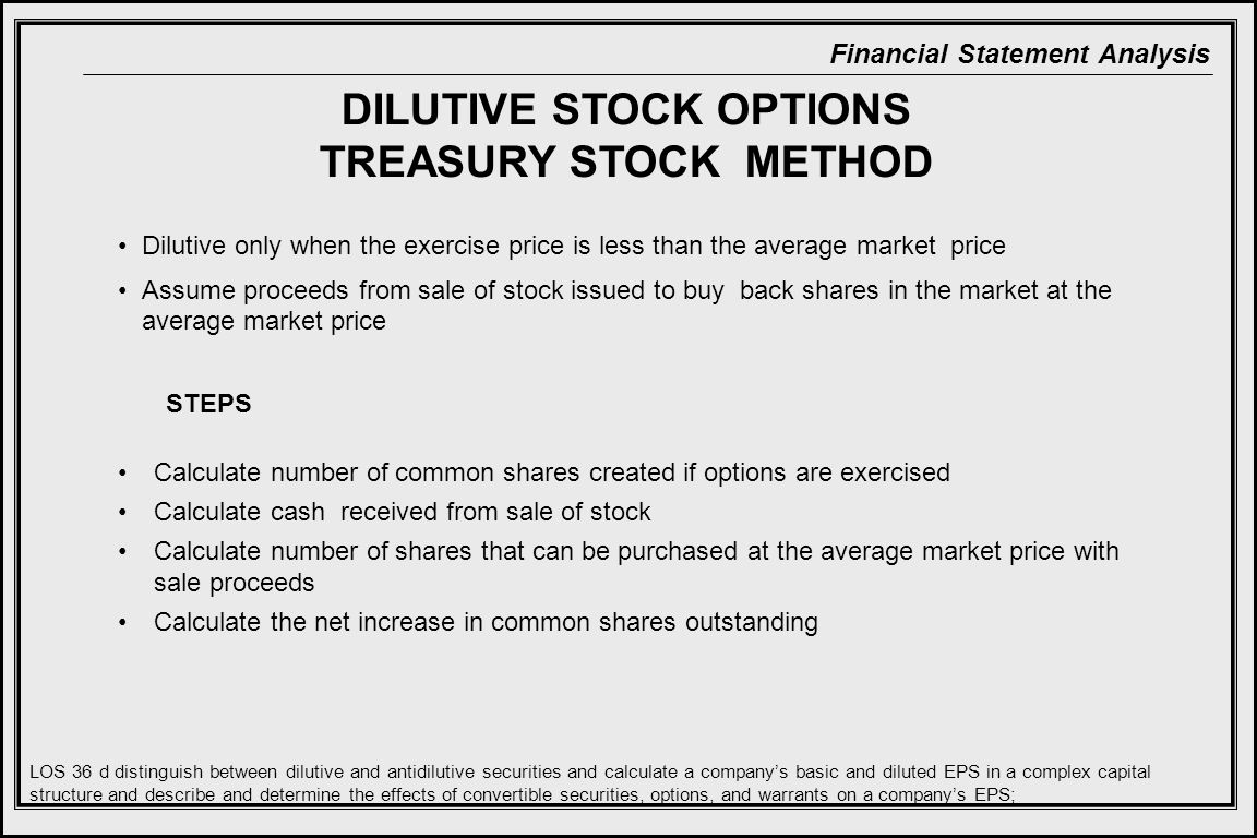 DILUTIVE STOCK OPTIONS