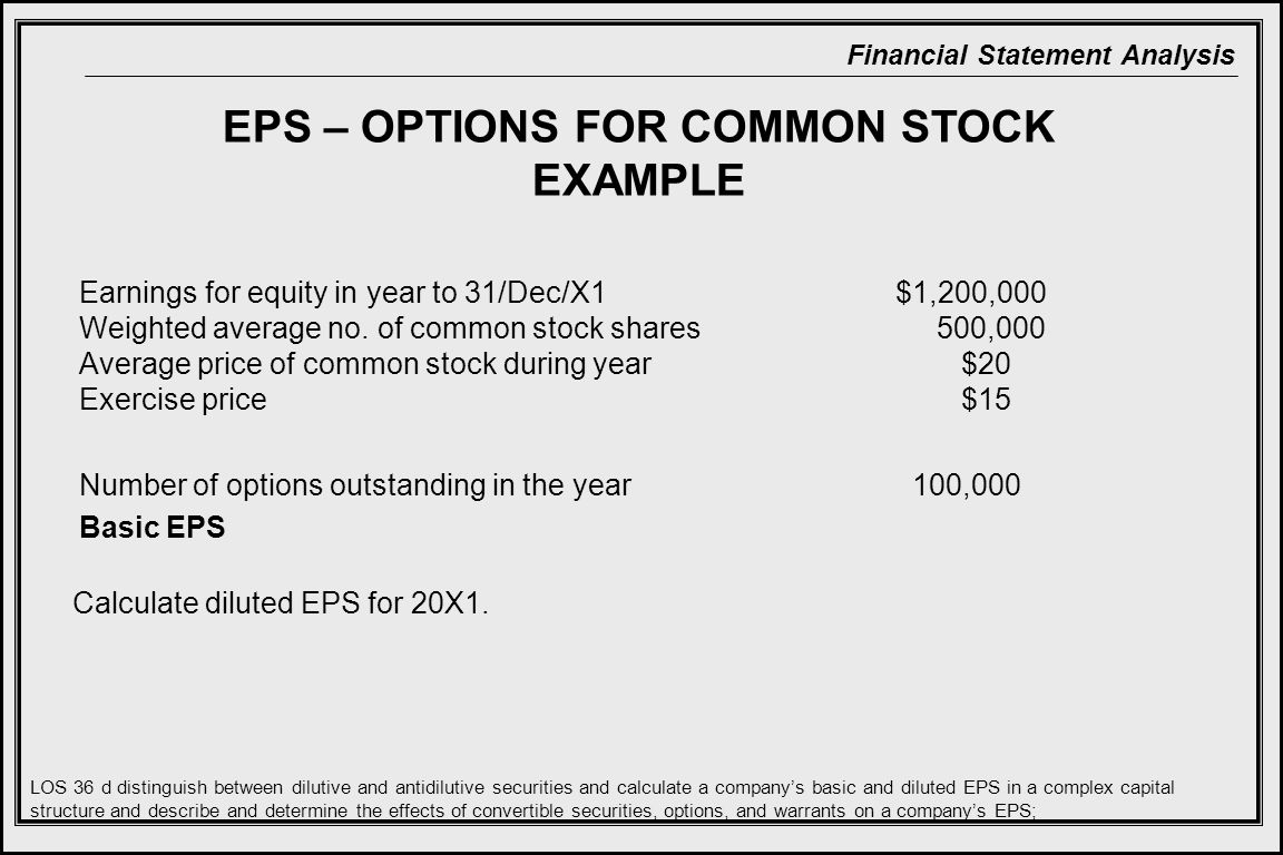 EPS – OPTIONS FOR COMMON STOCK