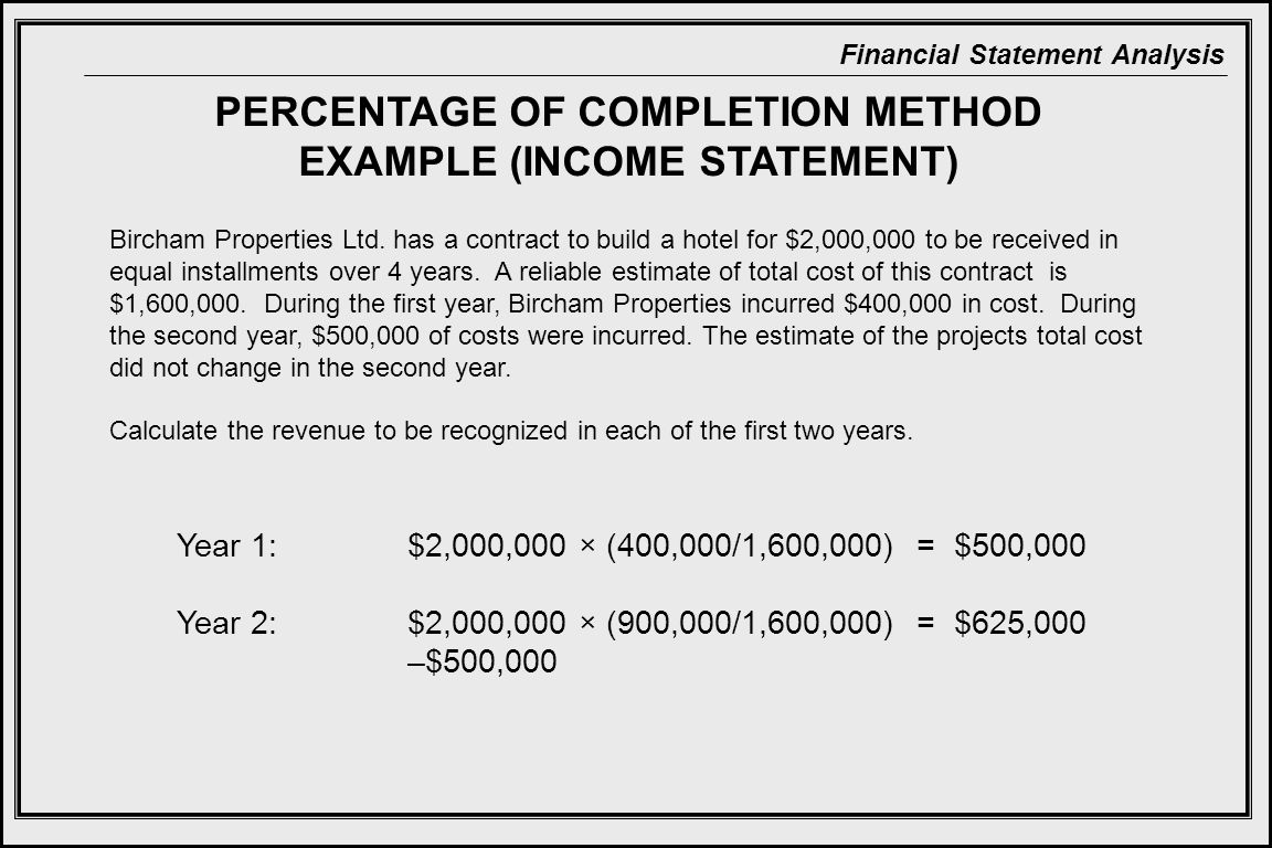 PERCENTAGE OF COMPLETION METHOD EXAMPLE (INCOME STATEMENT)
