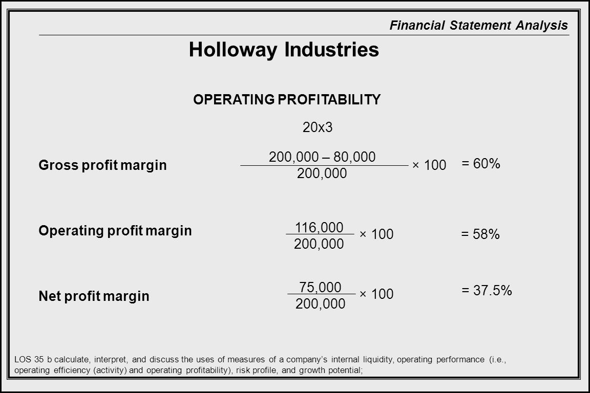 Holloway Industries OPERATING PROFITABILITY 20x3 200,000 – 80,000