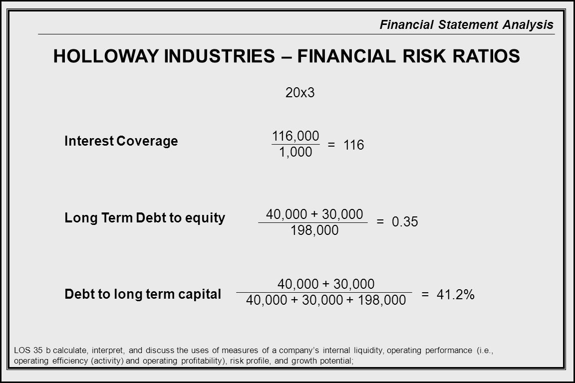 HOLLOWAY INDUSTRIES – FINANCIAL RISK RATIOS