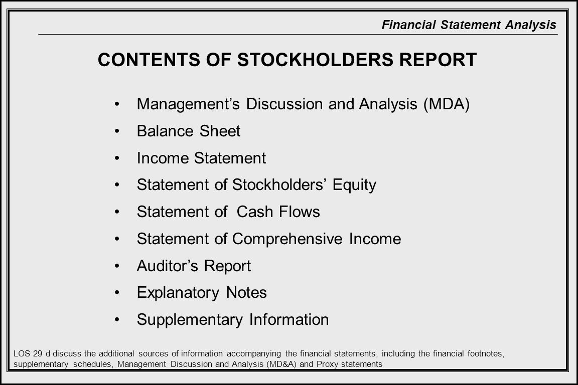 CONTENTS OF STOCKHOLDERS REPORT