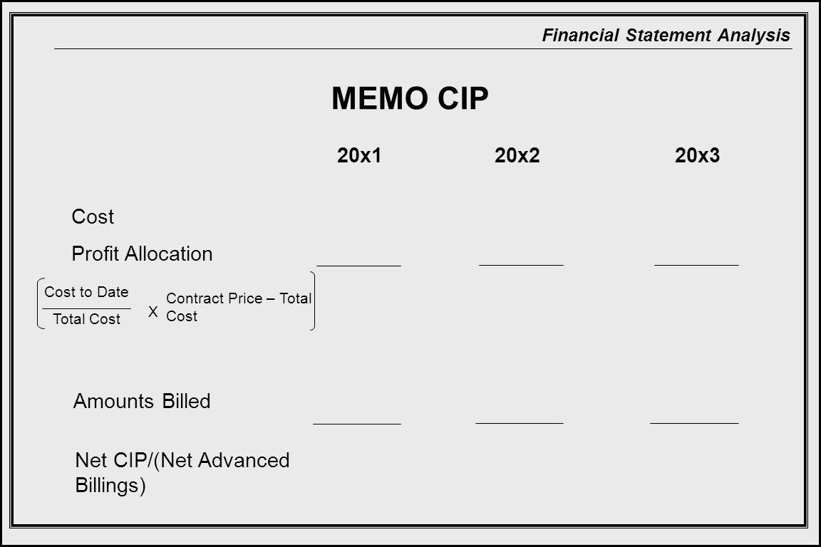 MEMO CIP 20x1 20x2 20x3 Cost Profit Allocation Amounts Billed
