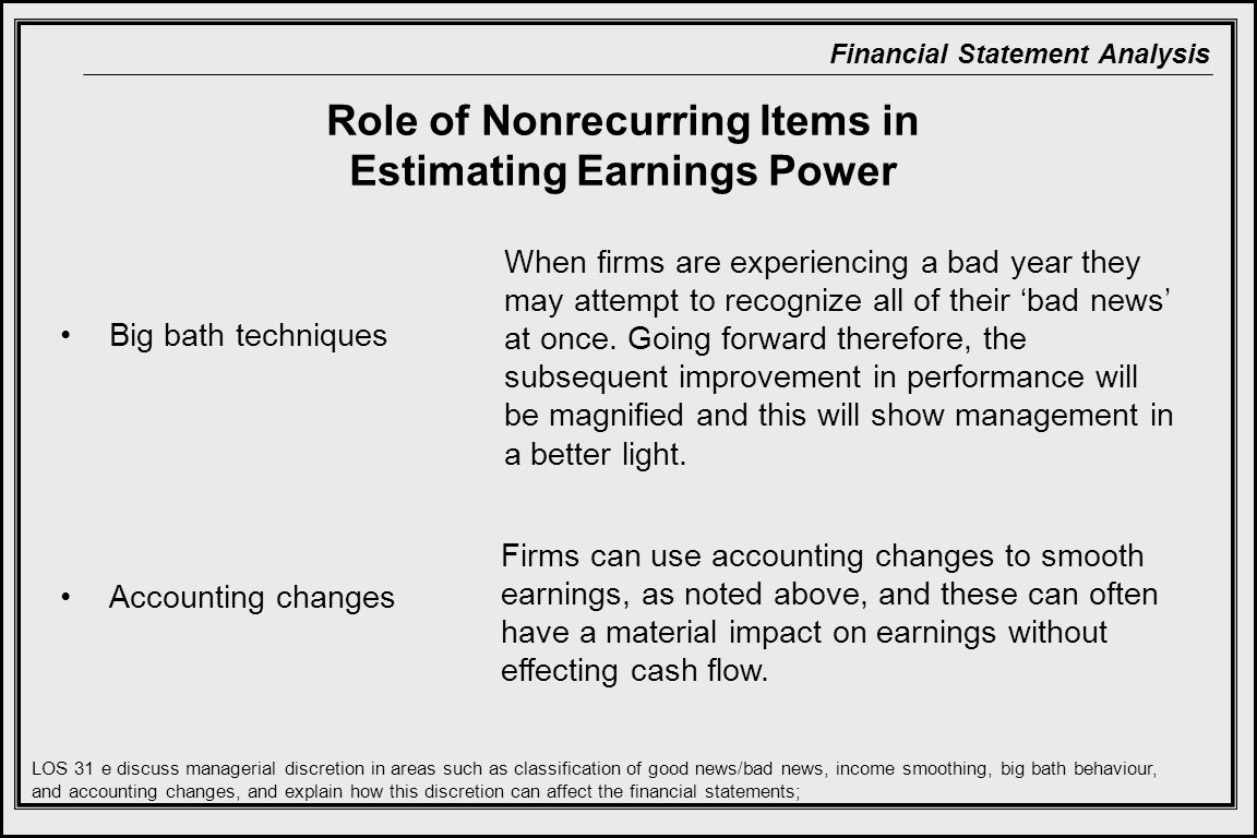 Role of Nonrecurring Items in Estimating Earnings Power