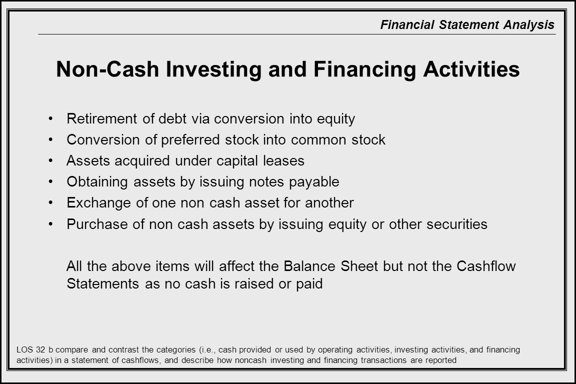 Non-Cash Investing and Financing Activities