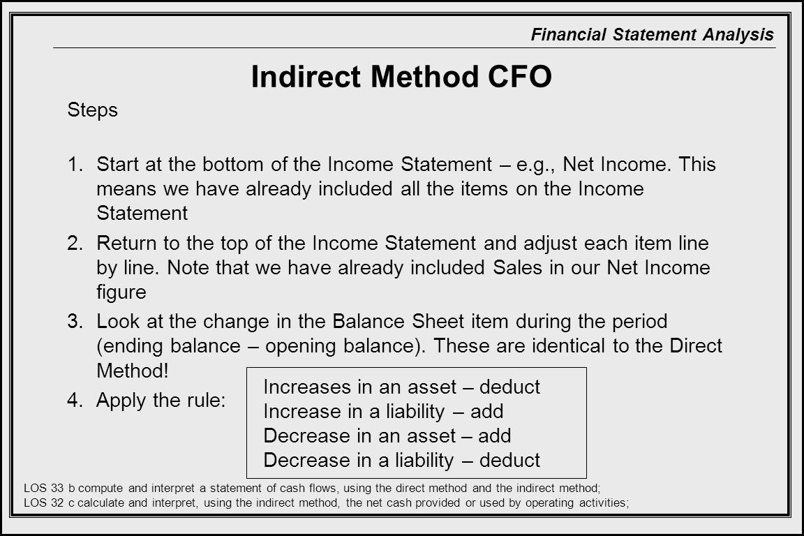 Indirect Method CFO Steps