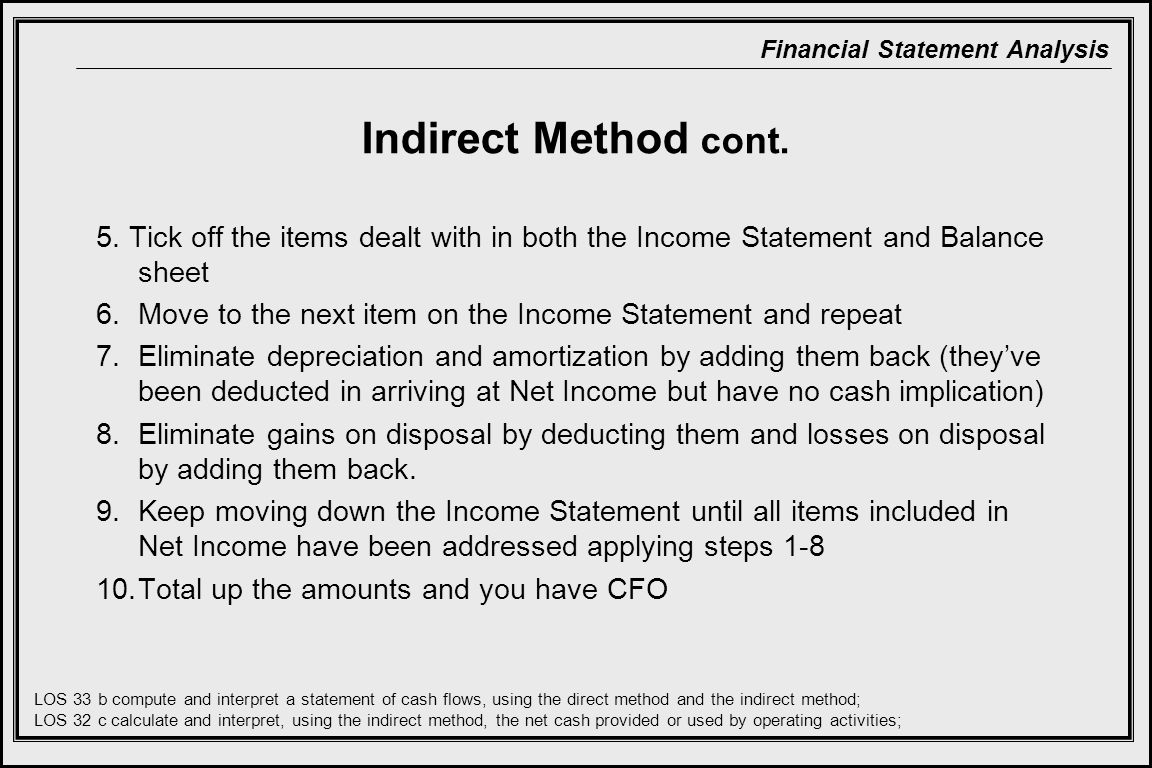Indirect Method cont. 5. Tick off the items dealt with in both the Income Statement and Balance sheet.