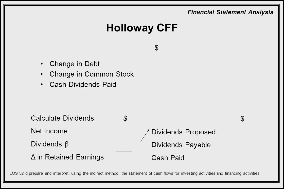 Holloway CFF $ Change in Debt Change in Common Stock