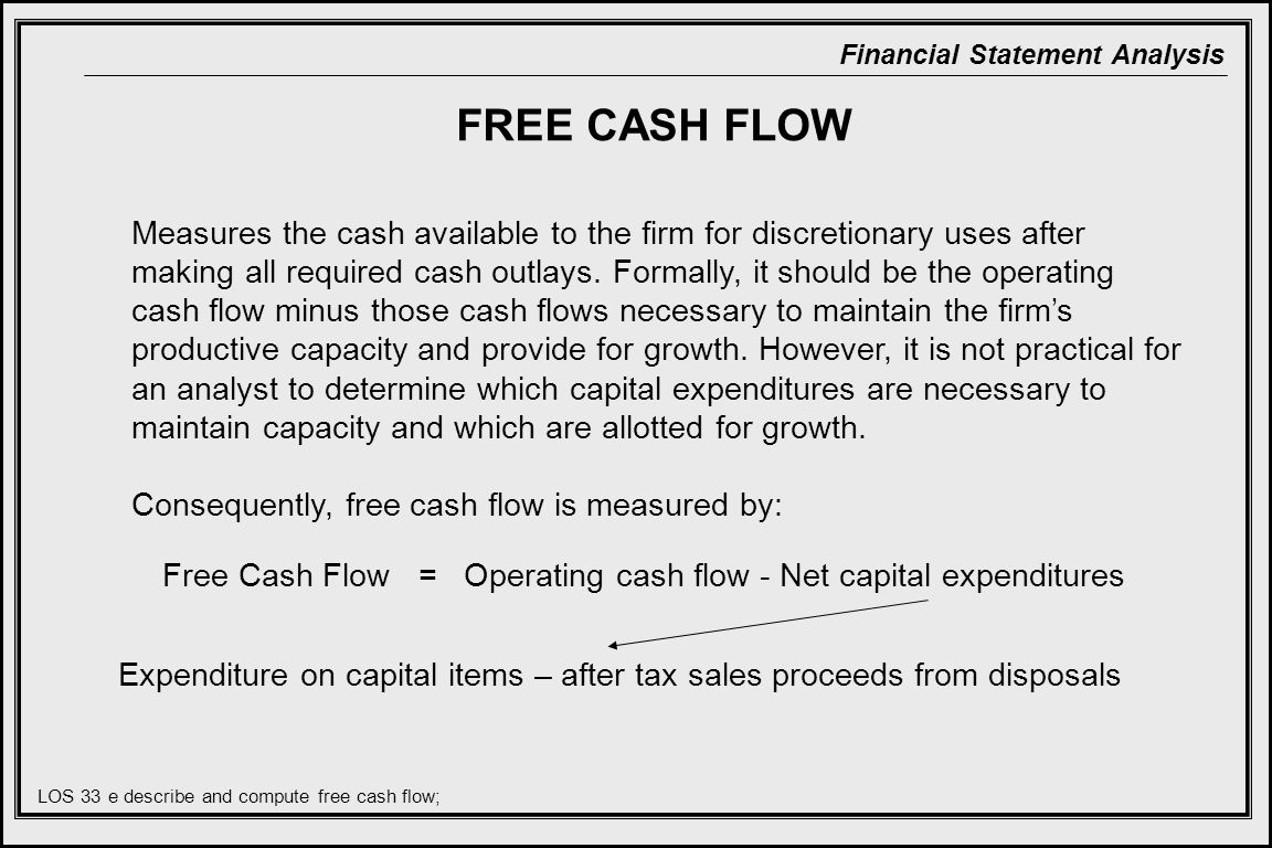 Free Cash Flow With A Firms Capital Expenditure