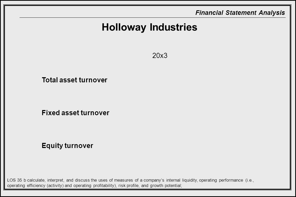 Holloway Industries 20x3 Total asset turnover Fixed asset turnover