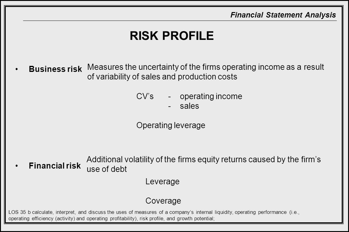RISK PROFILE Measures the uncertainty of the firms operating income as a result of variability of sales and production costs.