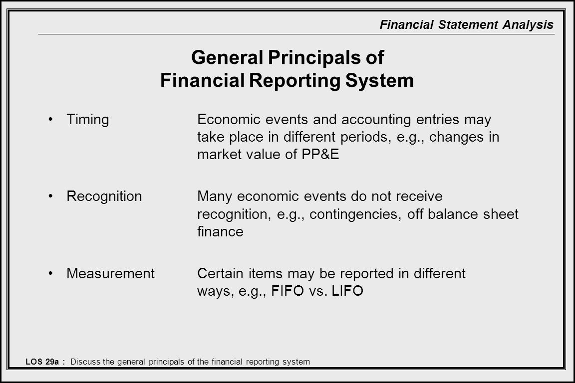 General Principals of Financial Reporting System