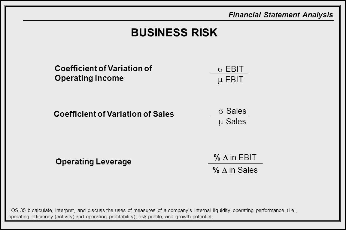 BUSINESS RISK  EBIT  EBIT  Sales  Sales
