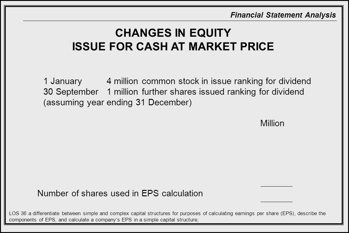 ISSUE FOR CASH AT MARKET PRICE