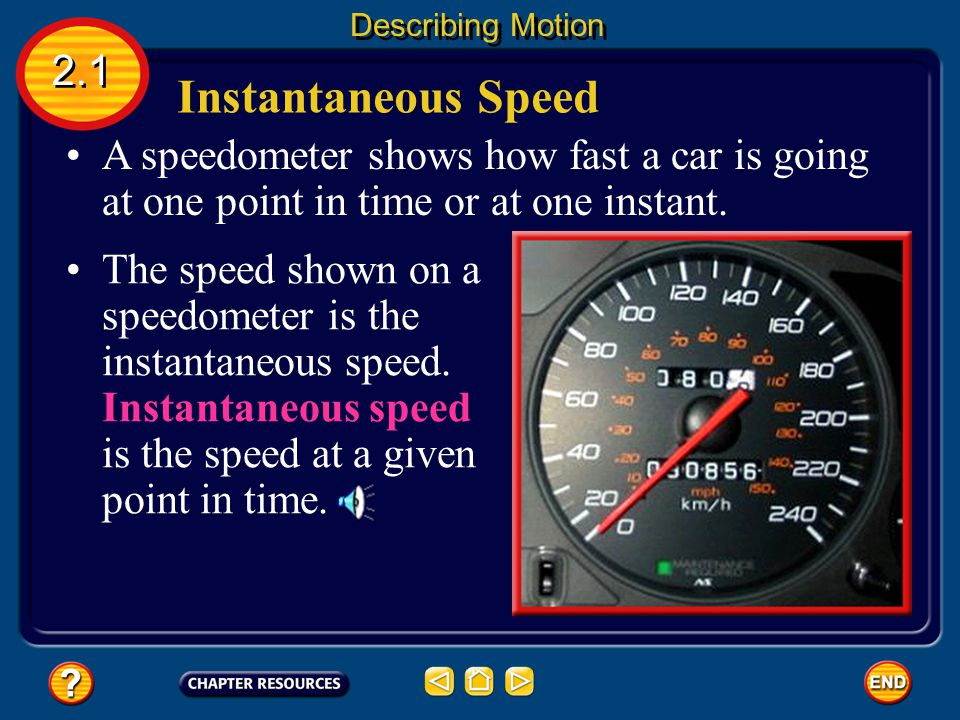 Describing Motion 2.1. Instantaneous Speed. A speedometer shows how fast a car is going at one point in time or at one instant.