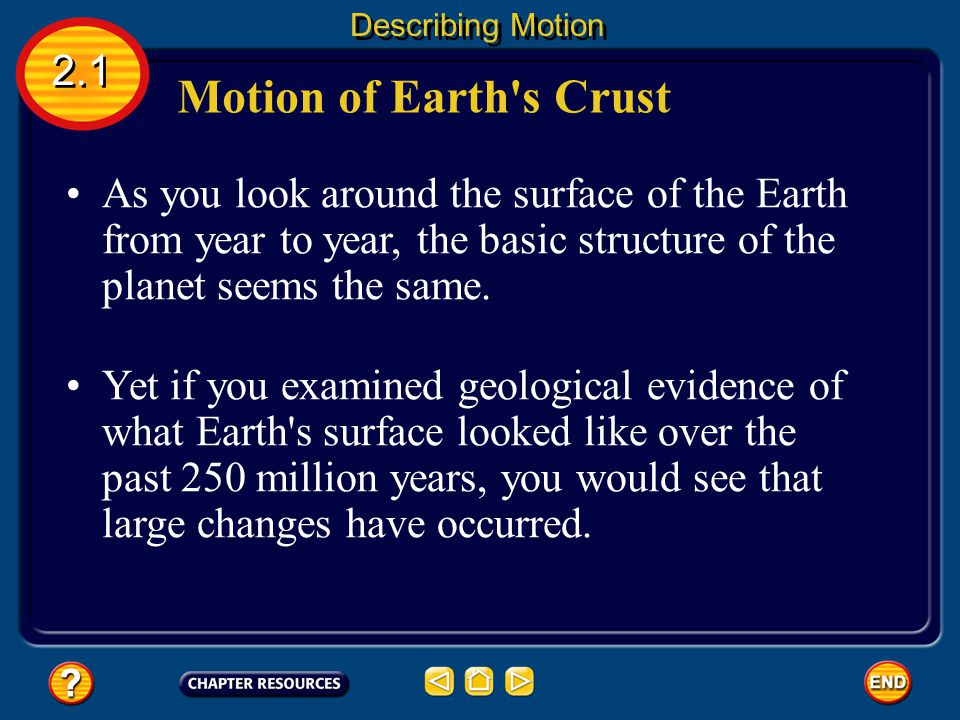 Describing Motion 2.1. Motion of Earth s Crust.