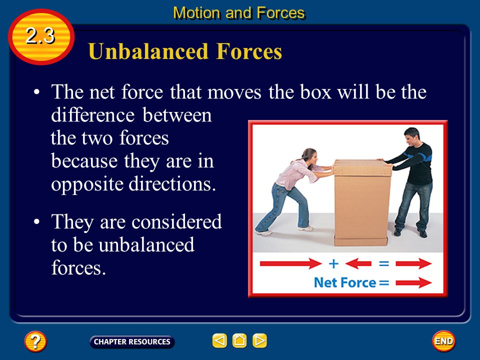 Motion and Forces 2.3. Unbalanced Forces. The net force that moves the box will be the difference between.