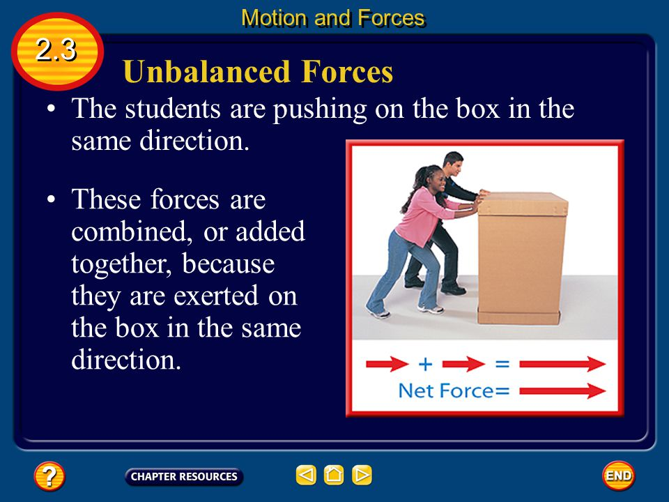 Motion and Forces 2.3. Unbalanced Forces. The students are pushing on the box in the same direction.